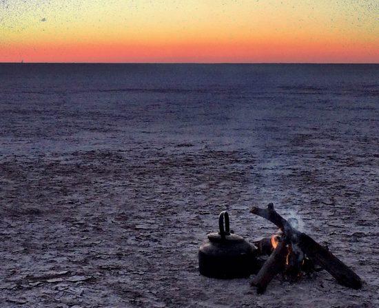 Las salinas de Makgadikgadi al amanecer