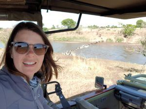 Allison and the Wildebeest Crossing