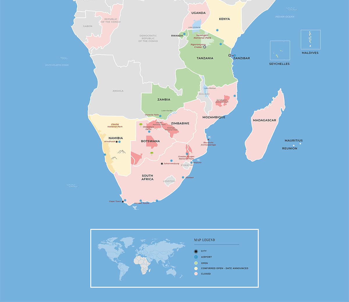 Map showing updates on travel restrictions in Africa