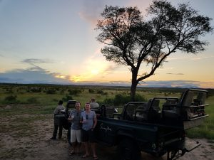 Sunset on safari with Ian