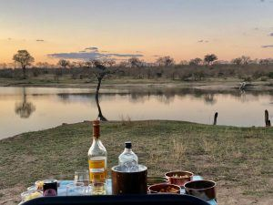 Sundowners at Big Dam in Sabi Sand