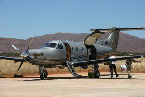 Arriving in Tswalu Kalahari in private jet, Niki Duncan 2010
