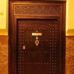 Morocca wooden door, Riad Ariha in Marrakech