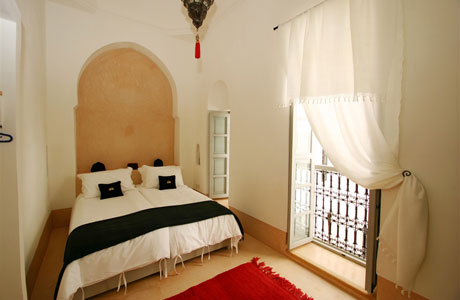 Oleander room with Juliette balcony overlooking courtyard Riad Ariha Marrakech