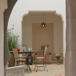 View from Rose room to pool in courtyard Riad Ariha Marrakech