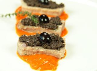 Tagliata di tonno con crema ai peperoni