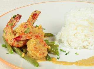 Curry verde di gamberi