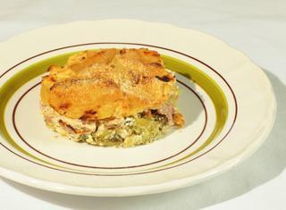 Tortino di patate, broccoli e pasta di salame