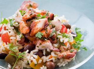 Ricetta: riso in insalata con polpo e peperoni