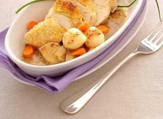 Fesa di tacchino croccante con verdure ricetta