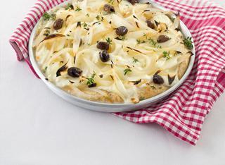 Ricetta Pizza integrale alle cipolle con lo stracchino