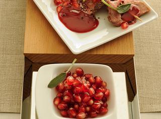 Entrecote in salsa agrodolce di melagrana