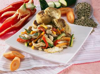 Pollo e polpette di lenticchie
