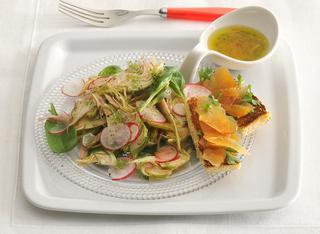 Carciofi e spinacini con crostini alla bottarga