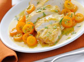 Petto di pollo all'arancia e kumquat