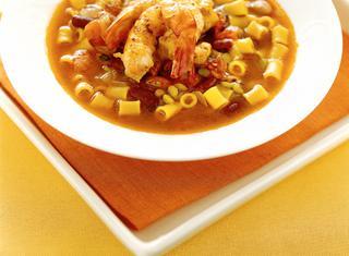 Ricetta Zuppa di legumi e gamberi