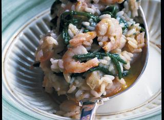 Ricetta Risotto bianco ai gamberetti e asparagi di mare