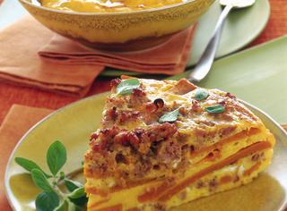 Frittata al forno con zucca e salsiccia