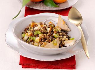 Insalata di lenticchie con pere e paté
