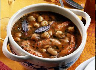 Zuppa di fagioli, ceci e gamberi
