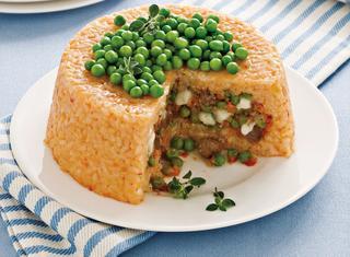 Ricetta Sartù di riso con piselli e polpettine