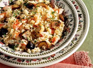Ricetta Riso con gamberetti e funghi