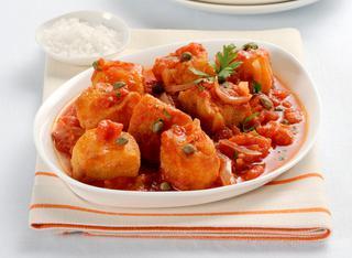 Ricetta Merluzzo fritto in salsa di pomodoro