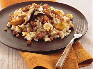 Ricetta Risotto con castagne, salsiccia e funghi
