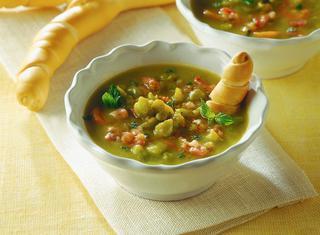 Ricetta Zuppa di piselli e pancetta