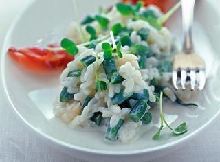 Risotto di pesce con fagiolini e pancetta