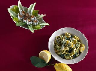 Ravioli di magro con spinaci e limone