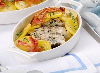 Merluzzo con patate e pancetta al gratin