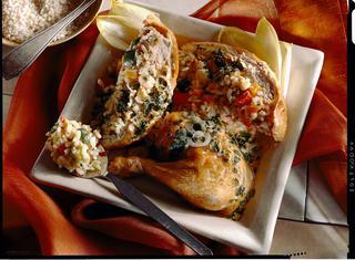 Pollo ripieno con verdure
