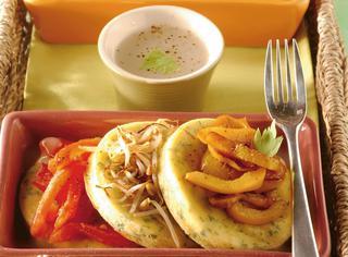 Gallette di prezzemolo e rucola con verdure miste