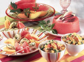 Ricetta Spiedini di gamberi al melone
