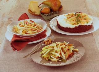Maccheroni cacio, pere, pancetta e pepe