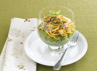 Purè di piselli con carote e zucchine alla menta