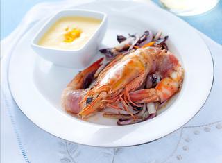 Ricetta Gamberi al lardo con zabaione salato