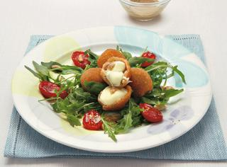 Ricetta Rucola selvatica, pomodorini e mozzarelline fritte