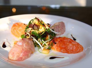 Tartare di salmone e branzino