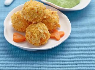 Crocchette di pollo con purè di piselli