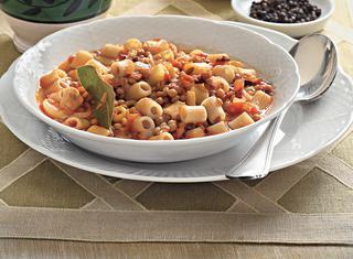 Minestra di lenticchie e pasta