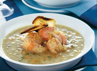 Ricetta Zuppa di pesce, gamberoni, totani e carciofi