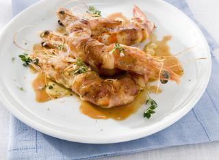 Ricetta Mazzancolle grigliate con salsa alla senape