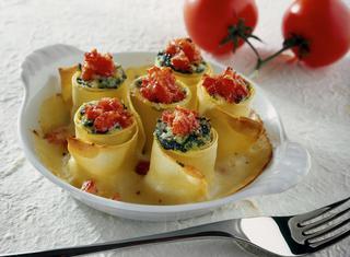 Rosette di pasta di spinaci
