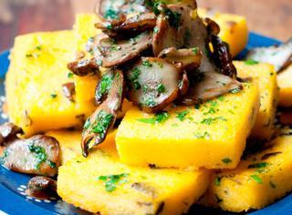 Polenta fritta con funghi porcini