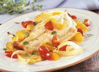 Ricetta Rombo al forno con i peperoni