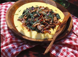 Ricetta Funghi, bietole e pancetta