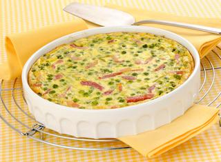Ricetta Clafoutis di cipollotti, piselli e pancetta