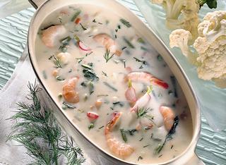 Zuppa di verdure e gamberi